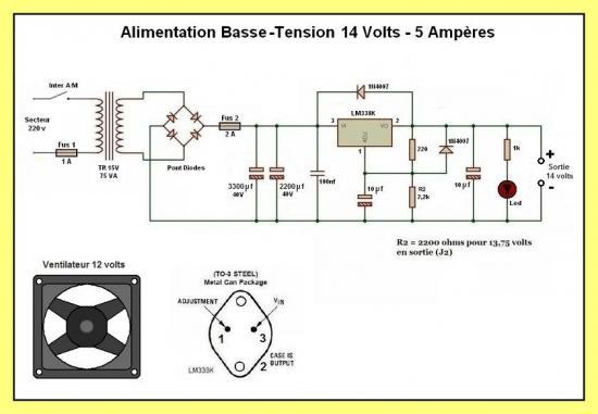 alimentation basse tension 13 8 volts 5 amp res. Black Bedroom Furniture Sets. Home Design Ideas